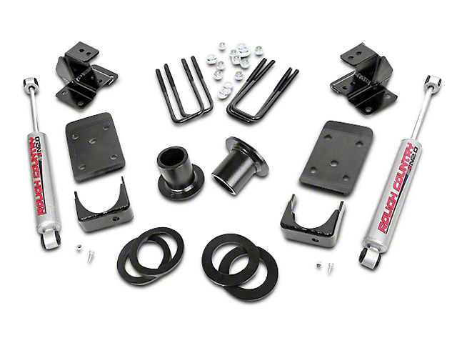 Rough Country Lowering Kit; 1 to 2-Inch Front / 4-Inch Rear (07-13 2WD Sierra 1500)