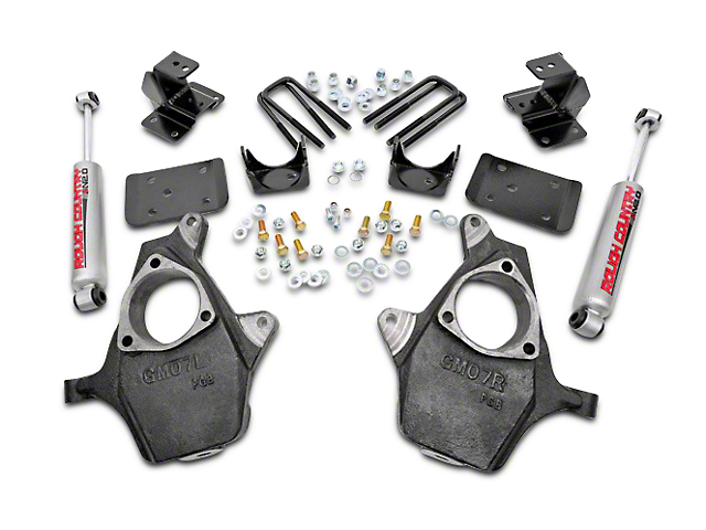 Rough Country Spindle Lowering Kit - 2 in. Front / 4 in. Rear (07-13 2WD Sierra 1500)