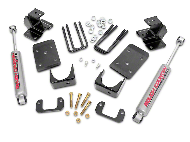 Rough Country Lowering Kit; 2-Inch Front / 4-Inch Rear (07-15 2WD Sierra 1500, Excluding 6.2L)