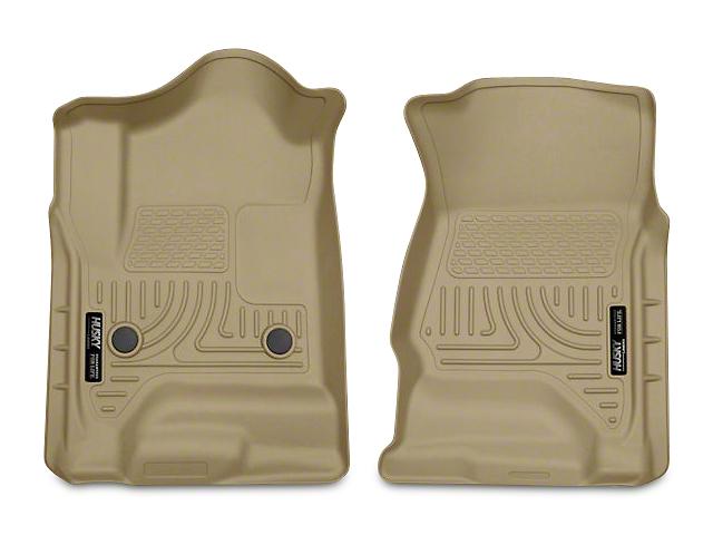 Husky WeatherBeater Front Floor Liners - Tan (14-18 Sierra 1500 Double Cab, Crew Cab)