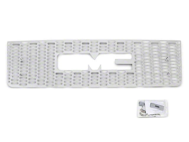 Designer FX Upper Overlay Grille with Logo Cutout; Polished (07-13 Sierra 1500)