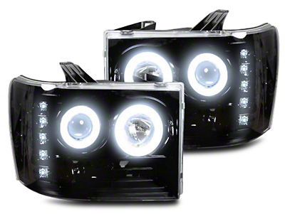 Recon Black Projector Headlights w/ LED Halos & Daytime Running Lights - Smoked Lens (07-13 Sierra 1500)