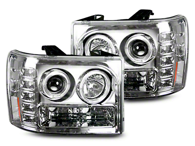 Recon Chrome Projector Headlights w/ LED Halos & Daytime Running Lights - Clear Lens (07-13 Sierra 1500)