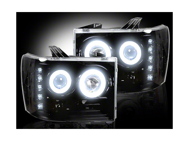 Recon Black Projector Headlights w/ CCFL Halos & Daytime Running Lights - Smoked Lens (07-13 Sierra 1500)