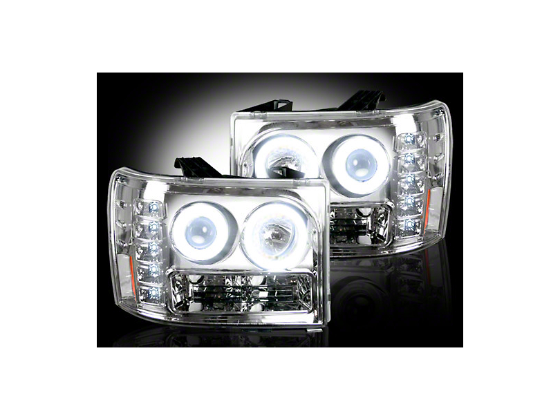 Chrome Projector Headlights w/ CCFL Halos & Daytime Running Lights - Clear Lens (07-13 Sierra 1500)
