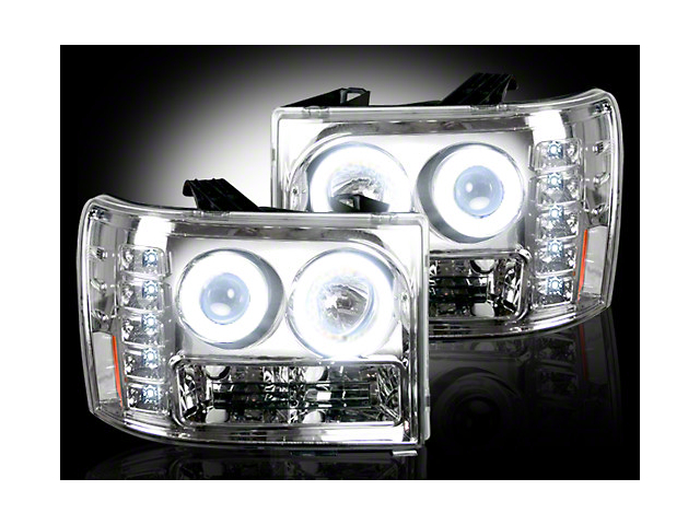 Recon Chrome Projector Headlights w/ CCFL Halos & Daytime Running Lights - Clear Lens (07-13 Sierra 1500)