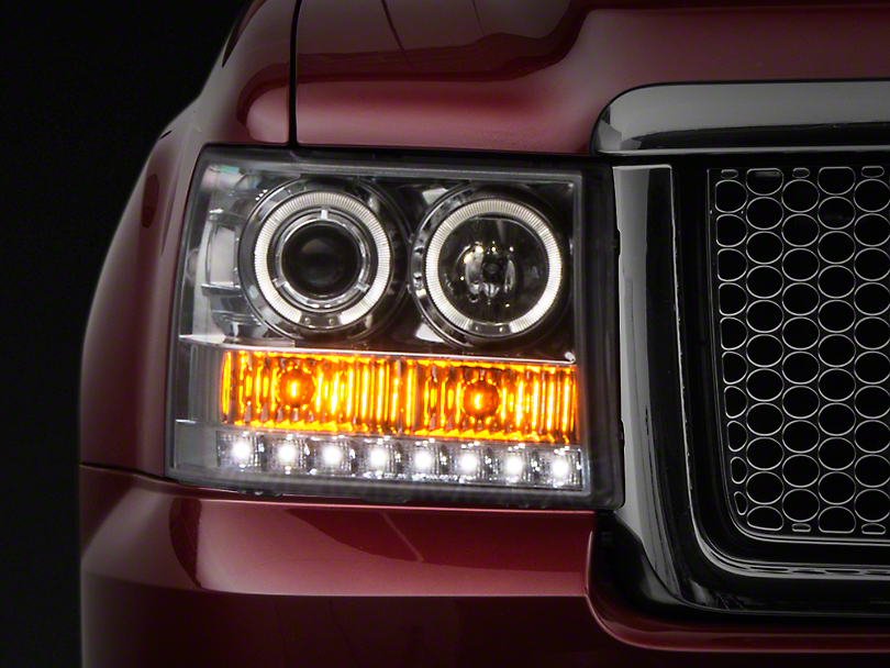 Axial Chrome Dual Halo Projector Headlights w/ LED Accent Lights (07-13 Sierra 1500)