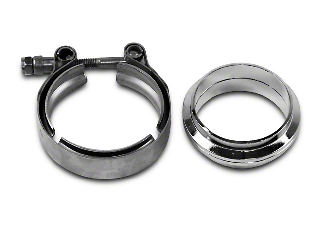 GMS 2.5 in. Mating Flat Flange w/ V-Band Exhaust Clamp - Stainless Steel (07-18 Sierra 1500)