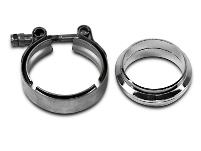 GMS 2.5 in. Mating Flat Flange w/ V-Band Exhaust Clamp - Mild Steel (07-18 Sierra 1500)