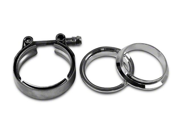 GMS 3 in. Mating Male to Female Interlocking Flange w/ V-Band Exhaust Clamp - Mild Steel (07-19 Sierra 1500)