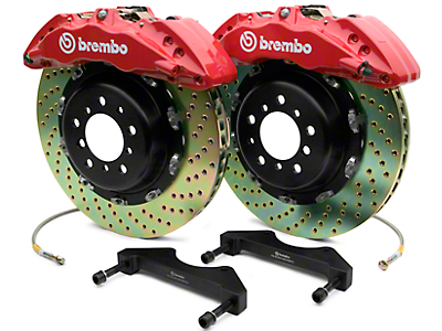 Brembo GT Series 6-Piston Front Brake Kit - 2-Piece Cross Drilled Rotors - Red (07-18 Sierra 1500)