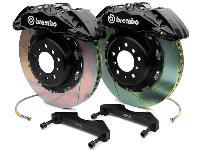 Brembo GT Series 6-Piston Front Big Brake Kit with 2-Piece Slotted Rotors; Black Calipers (07-18 Sierra 1500)