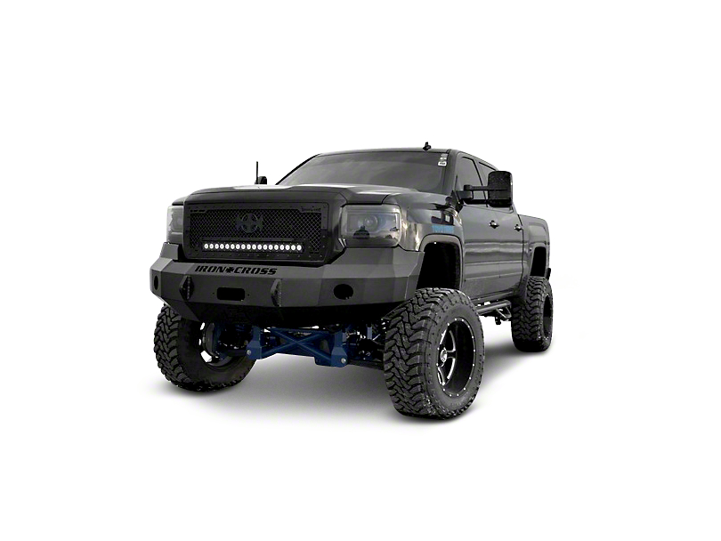 Iron Cross Heavy Duty Base Front Bumper; Gloss Black (14-15 Sierra 1500)