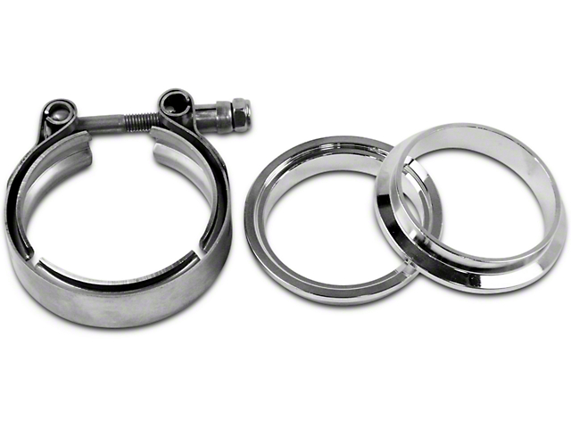 Granatelli Motor Sports 2.50-Inch Mating Male to Female Interlocking Flange with V-Band Exhaust Clamp; Stainless Steel (Universal Fitment)