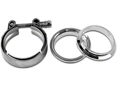 GMS 2.5 in. Mating Male to Female Interlocking Flange w/ V-Band Exhaust Clamp - Mild Steel (07-18 Sierra 1500)