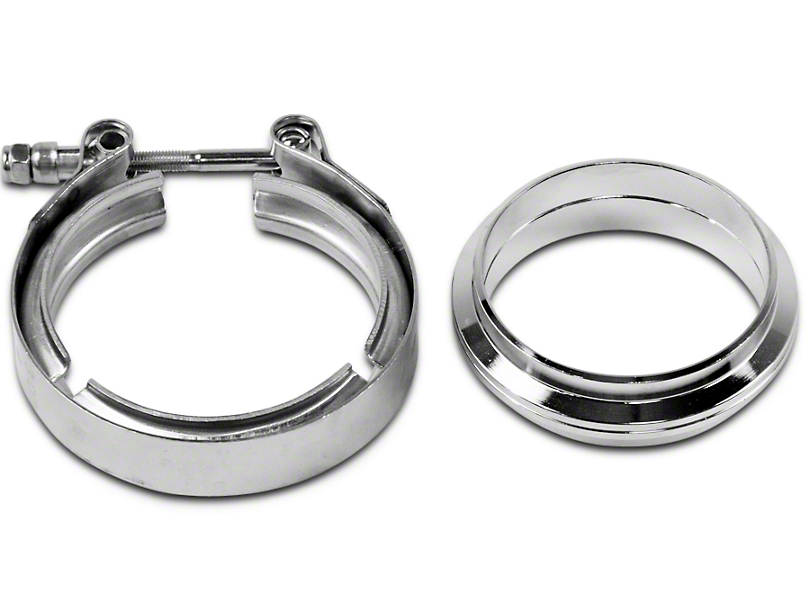 GMS 3 in. Mating Flat Flange w/ V-Band Exhaust Clamp - Stainless Steel (07-18 Sierra 1500)