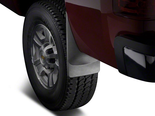 Weathertech No-Drill Mud Flaps; Front; Black (14-18 Sierra 1500 w/o Fender Flares)