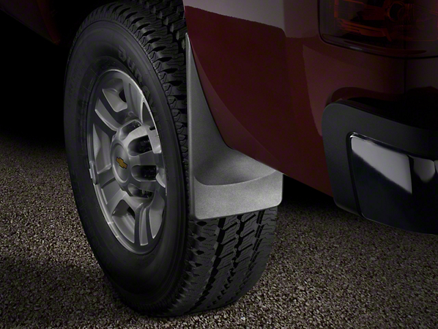 Weathertech No-Drill Mud Flaps; Rear; Black (14-18 Sierra 1500 w/o Fender Flares)