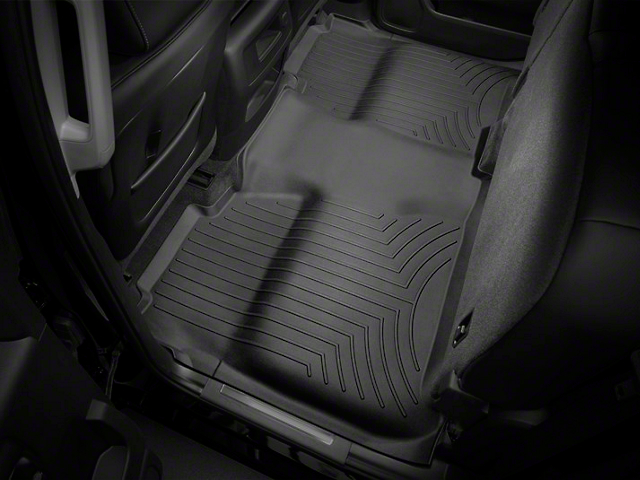 Weathertech DigitalFit Rear Floor Liner with Underseat Coverage; Black (14-18 Sierra 1500 Crew Cab)