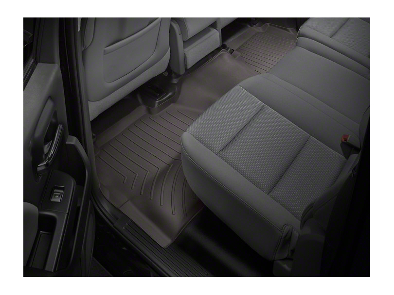 Weathertech DigitalFit Rear Floor Liner with Underseat Coverage; Cocoa (14-18 Sierra 1500 Crew Cab)
