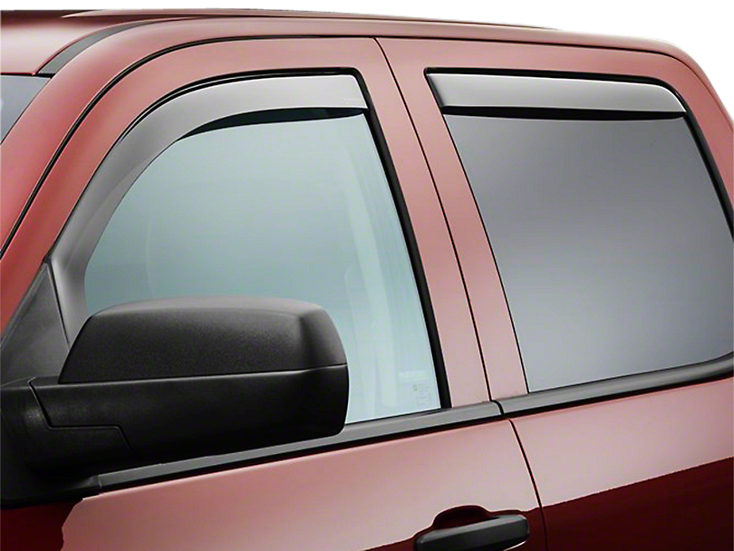 Weathertech Front & Rear Side Window Deflectors - Dark Smoke (07-13 Sierra 1500 Extended Cab, Crew Cab)