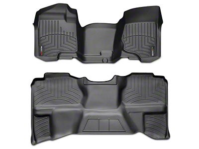 Weathertech DigitalFit Front & Rear Floor Liners - Over the Hump - Black (07-13 Sierra 1500 Extended Cab, Crew Cab, Excluding Hybrid)