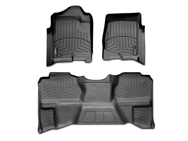 Weathertech DigitalFit Front & Rear Floor Liners - Black (07-13 Sierra 1500 Extended Cab, Crew Cab, Excluding Hybrid)