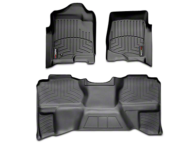 Weathertech DigitalFit Front & Rear Floor Liners - Black (07-13 Sierra 1500 Extended Cab, Crew Cab, Excluding Hybrid)