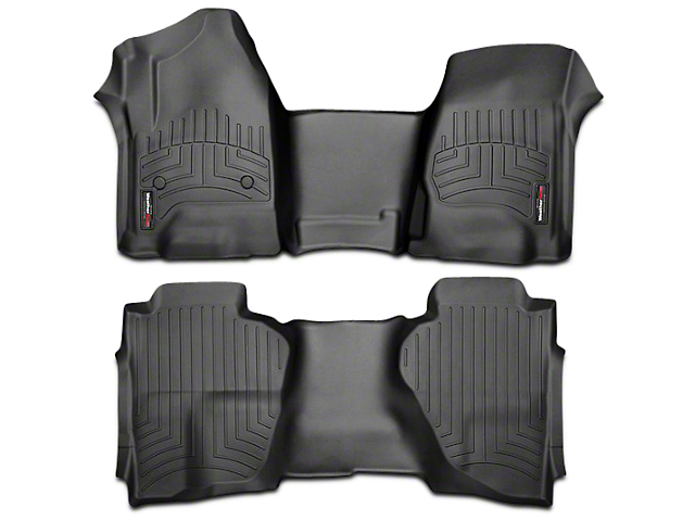Weathertech DigitalFit Front Over the Hump & Rear Floor Liners - Black (14-18 Sierra 1500 Double Cab, Crew Cab)