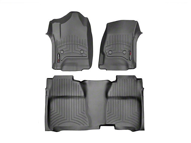 Weathertech DigitalFit Front & Rear Floor Liners w/ Underseat Coverage - Black (14-18 Sierra 1500 Crew Cab)