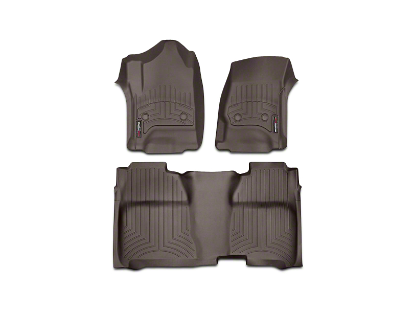 Weathertech DigitalFit Front and Rear Floor Liners with Underseat Coverage; Cocoa (14-18 Sierra 1500 Crew Cab)