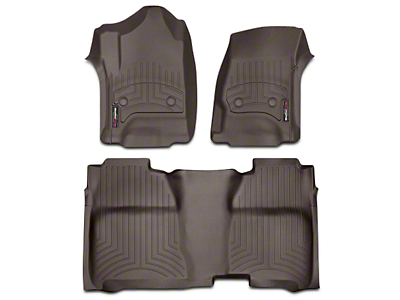 Weathertech DigitalFit Front & Rear Floor Liners w/ Underseat Coverage - Cocoa (14-18 Sierra 1500 Crew Cab)