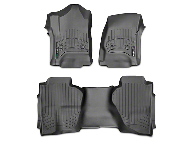Weathertech DigitalFit Front & Rear Floor Liners - Black (14-18 Sierra 1500 Double Cab, Crew Cab)