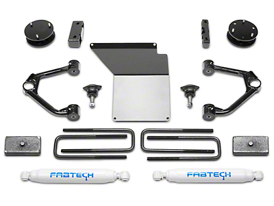 Fabtech 4 in. Budget Lift System w/ Shocks (14-18 2WD/4WD Sierra 1500 Double Cab, Crew Cab w/ Cast Aluminum or Stamped Steel Control Arms, Excluding Denali)