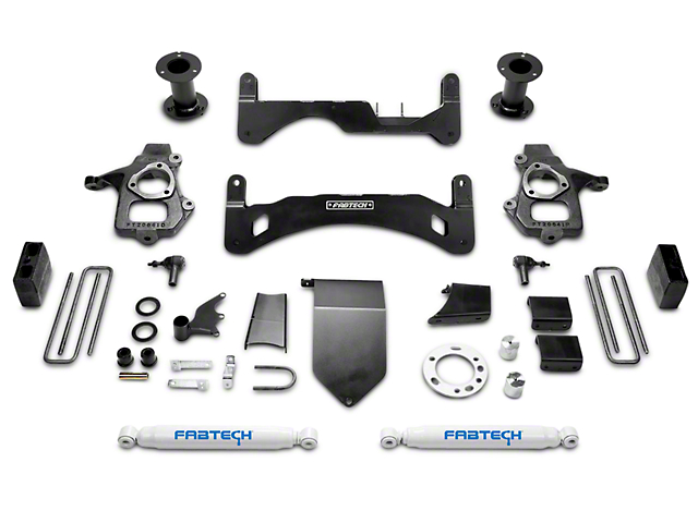 Fabtech 6-Inch GEN II Basic Suspension Lift Kit with Shocks (14-18 2WD/4WD Sierra 1500 Double Cab, Crew Cab, Excluding Denali)