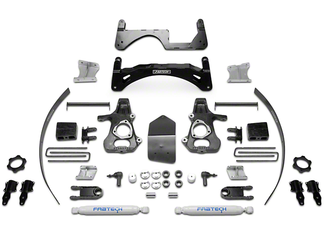 Fabtech 6-Inch Basic Suspension Lift Kit with Shocks (14-18 2WD/4WD Sierra 1500 Double Cab, Crew Cab, Excluding Denali)