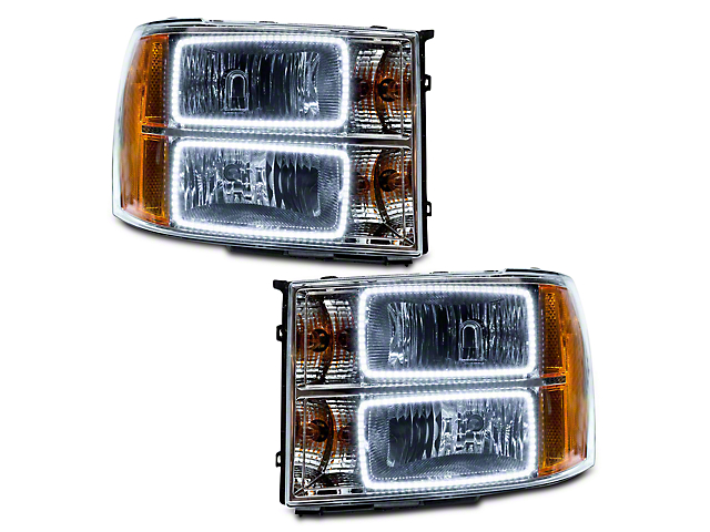 Oracle Chrome OE Style Headlights w/ Square Ring LED Halos (07-13 Sierra 1500)