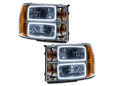 Chrome OE Style Headlights w/ Square Ring LED Halos (07-13 Sierra 1500)