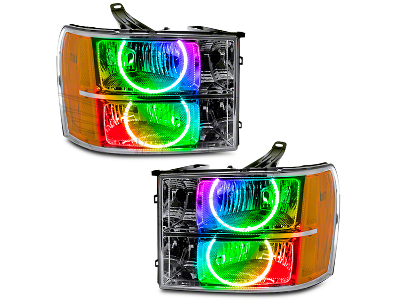 Oracle Chrome OE Style Headlights w/ ColorSHIFT Round Ring LED Halos (07-13 Sierra 1500)