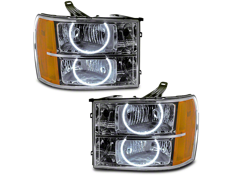 Oracle Chrome OE Style Headlights w/ Round Ring Plasma Halos (07-13 Sierra 1500)