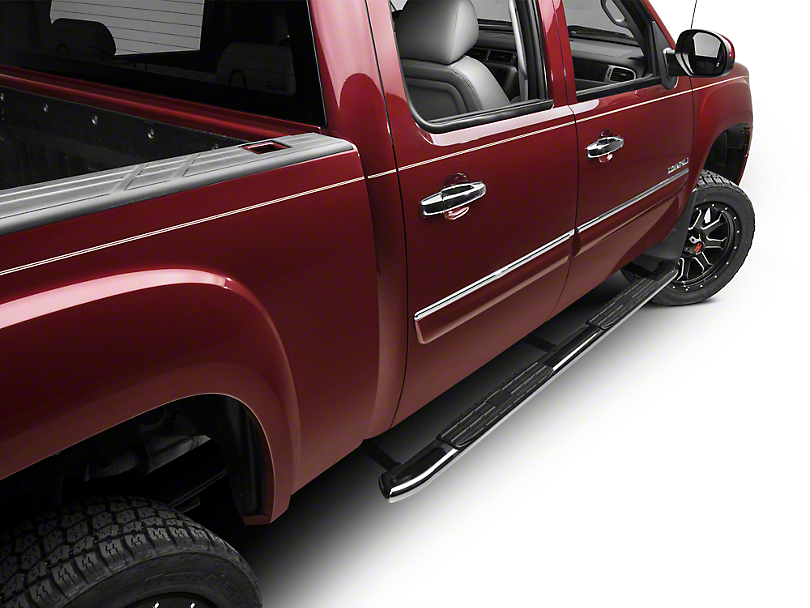 Barricade Pinnacle 4 in. Oval Bent End Body Mount Side Step Bars - Stainless Steel (07-13 Sierra 1500 Extended Cab, Crew Cab)
