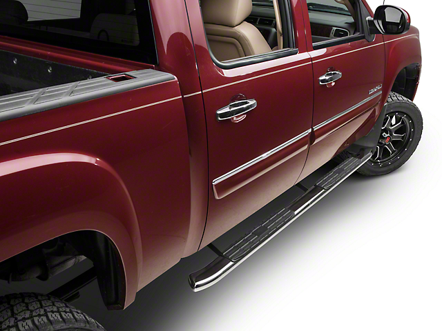 Barricade Pinnacle 4 in. Oval Bent End Rocker Mount Side Step Bars - Stainless Steel (07-13 Sierra 1500 Extended Cab, Crew Cab)