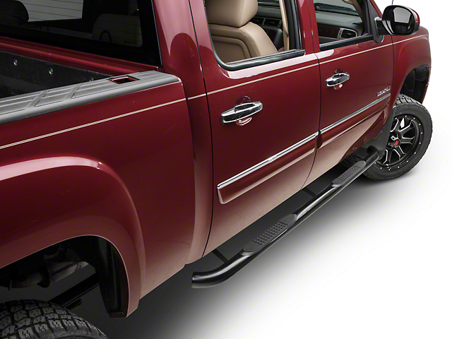 Barricade 3-Inch Side Step Bars; Rocker Mount; Black (07-13 Sierra 1500)