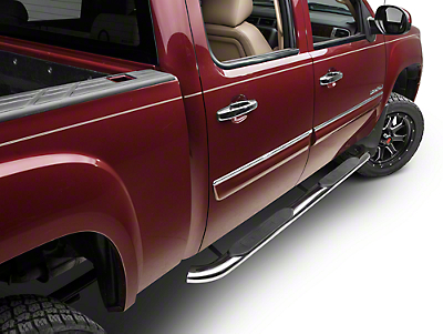Barricade 4 in. Oval Bent Side Step Bars - Polished Stainless - Rocker Panel Mount (07-13 Sierra 1500)