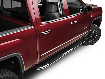 Barricade 4 in. Oval Bent Side Step Bars - Polished Stainless - Rocker Panel Mount (14-18 Sierra 1500)