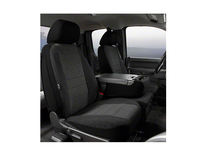 Fia Custom Fit Tweed Front Seat Covers - Charcoal (07-13 Sierra 1500 w/ Bench Seat)