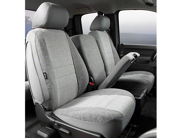 Fia Custom Fit Tweed Front Seat Covers; Gray (07-13 Sierra 1500 w/ Bench Seat)