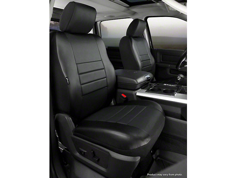 Fia Custom Fit Leatherlite Front Seat Covers - Black (07-13 Sierra 1500 w/ Bucket Seats)