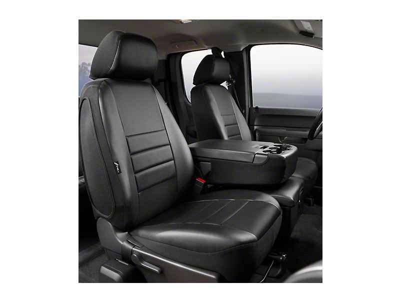 Fia Custom Fit Leatherlite Front Seat Covers - Black (07-13 Sierra 1500 w/ Bench Seat)