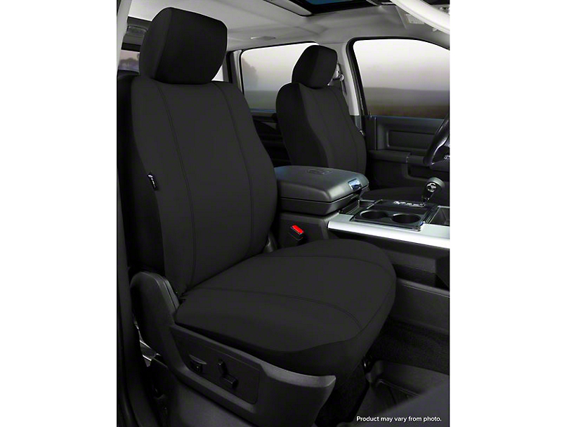 Fia Custom Fit Poly-Cotton Front Seat Covers - Black (07-13 Sierra 1500 w/ Bucket Seats)